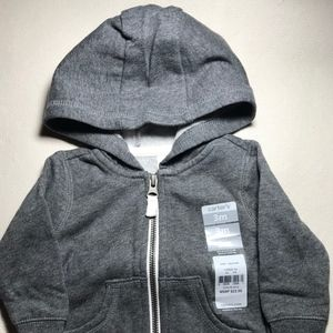 NWT Carter's Grey Zippered Hoodie Size 3 Months